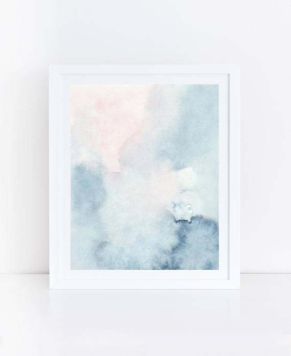 Printable Abstract Art Watercolor Wall Art Sky Print Blue Pertaining To Pastel Abstract Wall Art (Image 18 of 20)