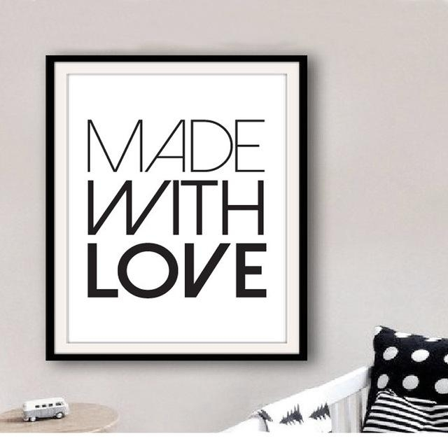 Printable Made With Love Art Quotes Print Canvas Wall Art Modern Regarding Modern Nursery Canvas Wall Art (View 14 of 20)