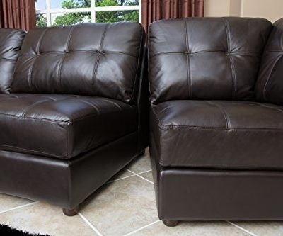 Product Reviews | Buy Abbyson Living Sonora Top Grain Leather Within Leather Modular Sectional Sofas (Image 9 of 10)