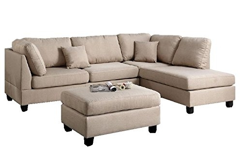 Product Reviews | Buy Modern Contemporary Polyfiber Fabric Sectional Inside Beige Sectional Sofas (Image 6 of 10)
