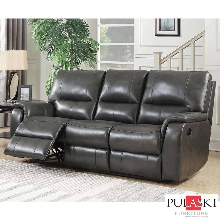 Pulaski 3 Seater Grey Leather Manual Recliner Sofa | All Sofas Within Recliner Sofas (Image 5 of 10)