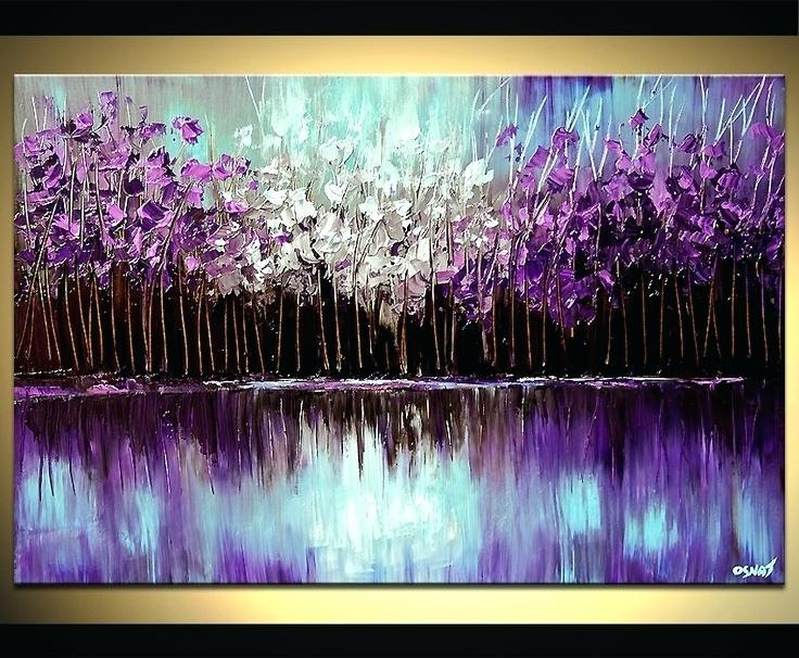 Purple And Blue Wall Art Purple Blue Pink 3 Piece Wall Decor Throughout Purple And Grey Abstract Wall Art (Image 15 of 20)