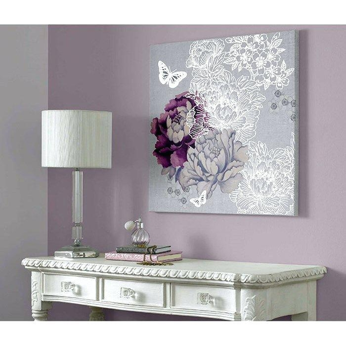 Purple And Gray Wall Art – Boyintransit In Butterflies Canvas Wall Art (View 15 of 20)