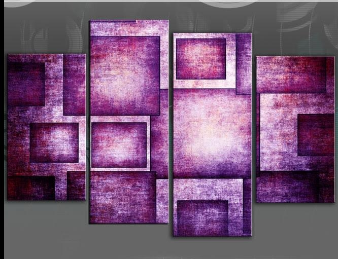Purple Geometric Rectangles Abstract 4 Panel Canvas Wall Art Print 40 For Canvas Wall Art In Purple (Image 17 of 20)