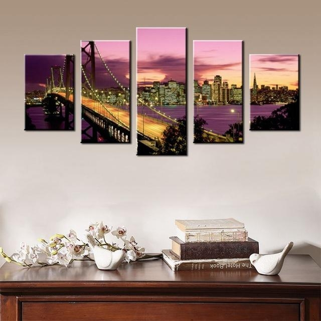 Purple Sunset Dusk Golden Gate Bridge Beautiful Landscape Scene With Regard To Golden Gate Bridge Canvas Wall Art (Image 19 of 20)