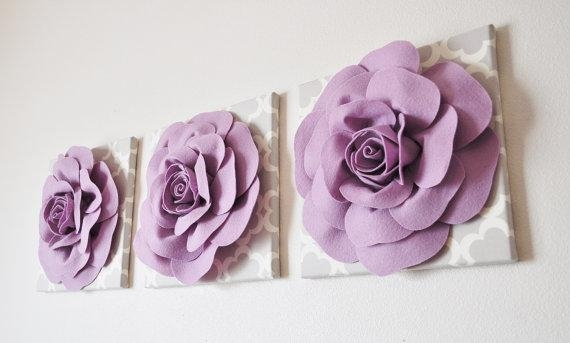Purple Wall Decor Set Of Three Lilac Roses On Neutral Gray Pertaining To Lilac Canvas Wall Art (Image 15 of 20)