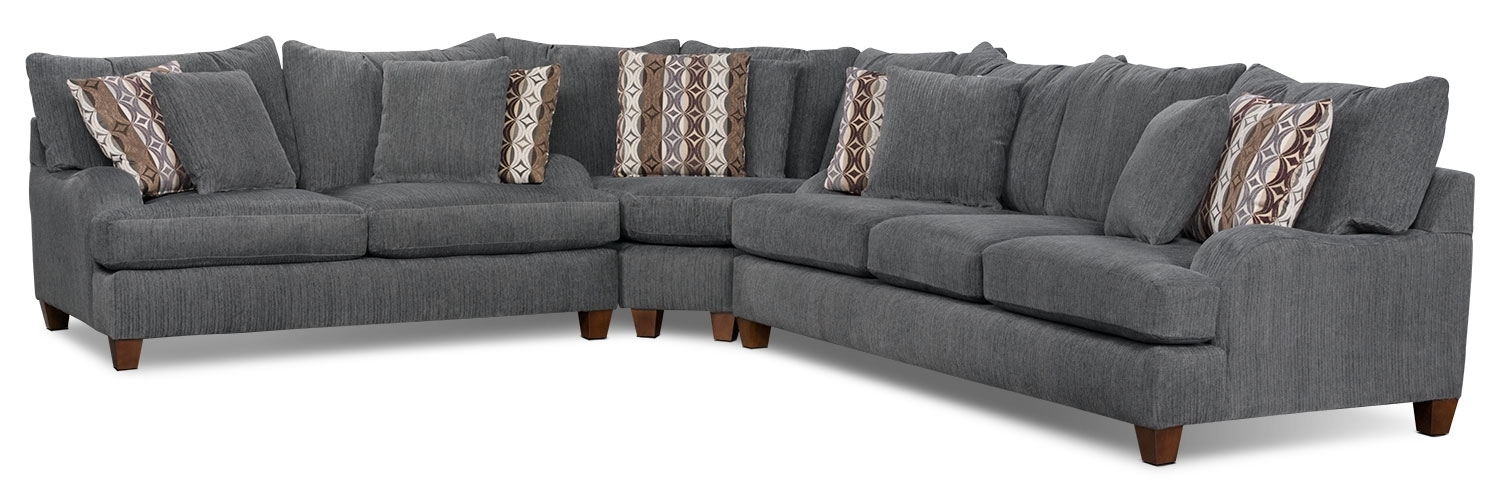 Putty Chenille 3 Piece Sectional – Grey | The Brick Regarding Sectional Sofas At The Brick (Photo 6 of 10)