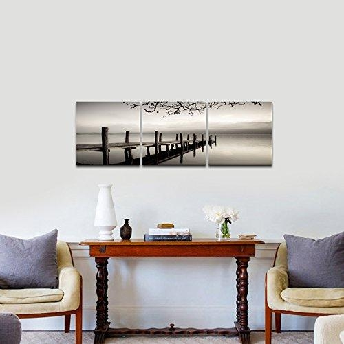 Pyradecor Peace 3 Panels Black And White Landscape Giclee Canvas Inside Bedroom Canvas Wall Art (Image 16 of 20)