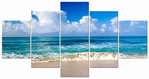 Pyradecor Seaside Sea Beach Modern Stretched And Framed Seascape 5 Intended For Beach Canvas Wall Art (View 2 of 20)