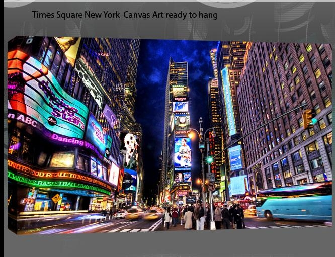 Quirky New York Times Square At Night Single Canvas Wall Art Picture With Regard To Quirky Canvas Wall Art (Image 16 of 20)
