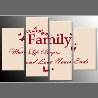 Quote Red On Cream 4 Panel Canvas Wall Art 40 Inch 101Cm For Canvas Wall Art Family Quotes (Photo 15 of 20)