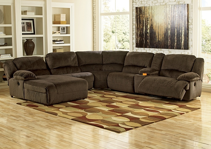 R.a. Ahner Furniture Toletta Chocolate Left Facing Chaise End Power For Sectional Sofas With Consoles (Photo 6 of 10)