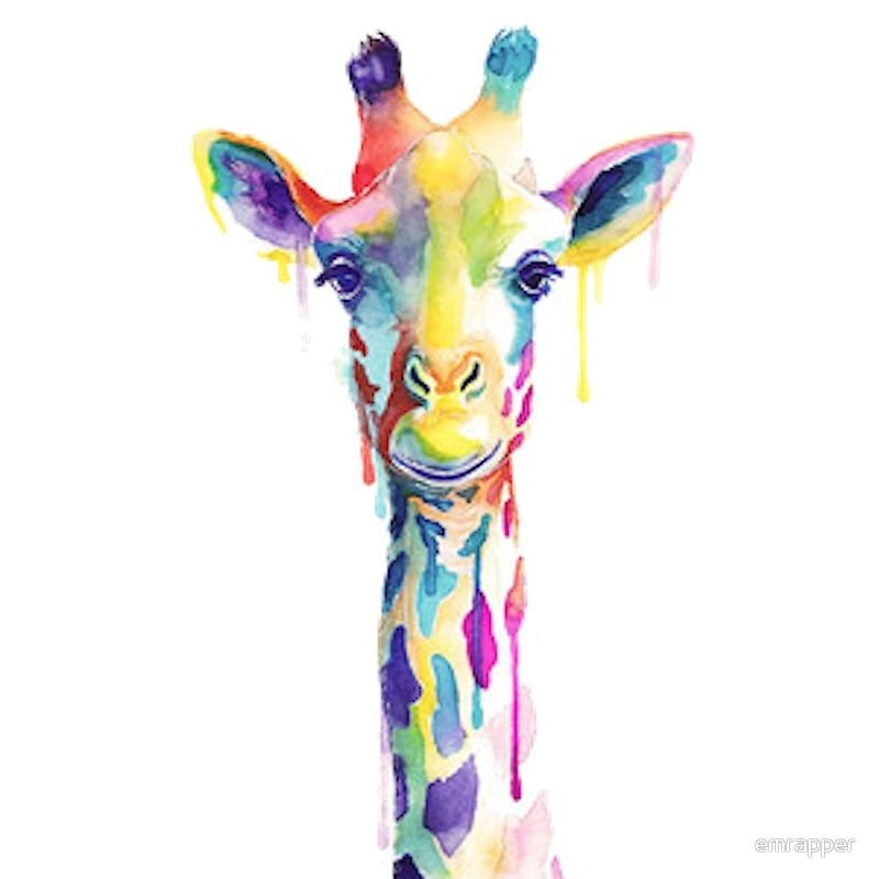 "Rainbow Giraffe"" Canvas Printsemrapper 