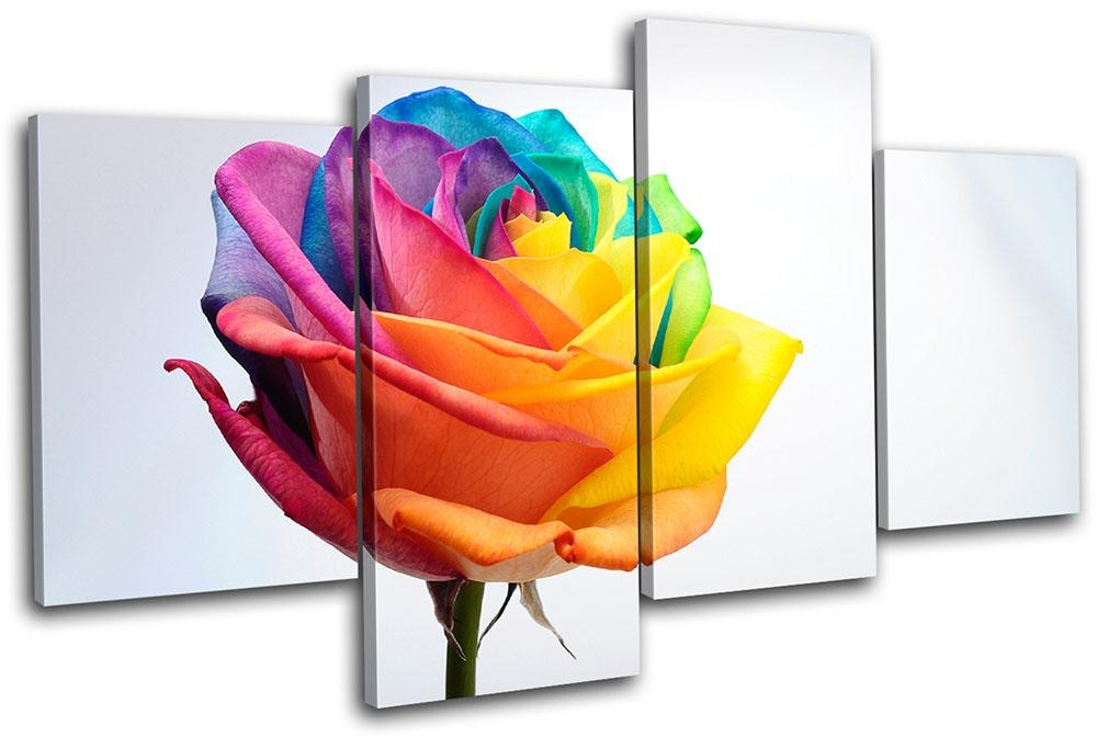 Rainbow Rose Floral Multi Canvas Wall Art Picture Print Va | Ebay Pertaining To Rainbow Canvas Wall Art (View 5 of 20)