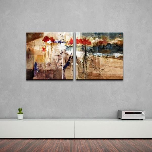 Ready2Hangart 'floral' Oversized Abstract Canvas Wall Art (2 Piece In Overstock Abstract Wall Art (Photo 10 of 20)