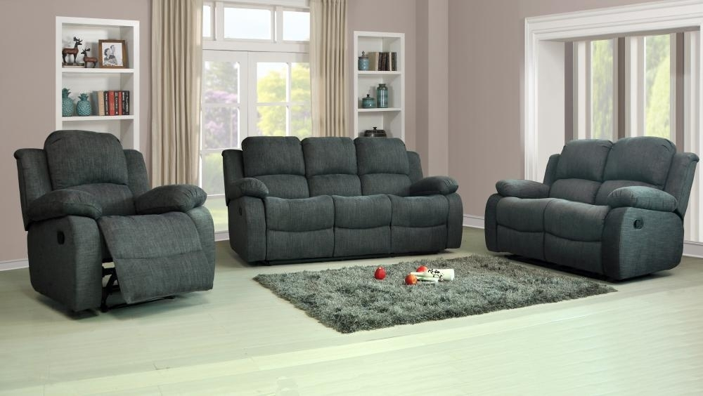 Recliner Sofas Fabric 3+2+1 Charcoal Or Light Grey 3 Piece Suite For Recliner Sofas (Image 8 of 10)