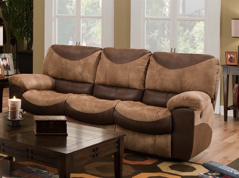 Reclining Sofa In Two Tone Chocolate And Saddle Fabriccatnapper For Two Tone Sofas (View 7 of 10)