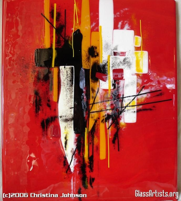 Red Abstract Wall Panel – Glass Artists With Abstract Fused Glass Wall Art (Image 14 of 20)