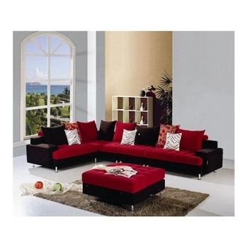 Red And Black L Shaped Fabric Sofa Set – Buy L Shaped Fabric Sofas Inside Red And Black Sofas (Image 6 of 10)