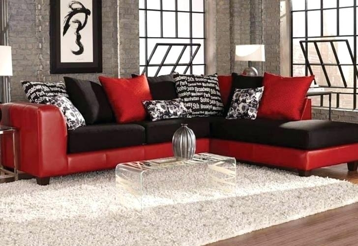 Red And Black Sectional Red And Black Leather Sectional Fresh Sofa With Red Black Sectional Sofas (Image 7 of 10)