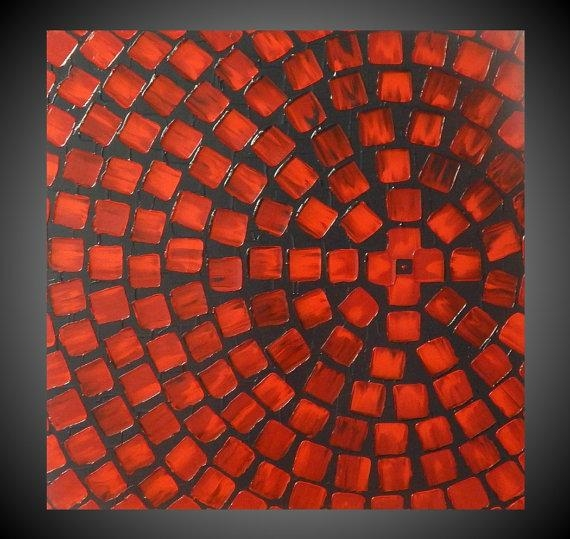 Red And Grey Painting On Canvas Wall Art Abstract Acrylic Intended For Red Canvas Wall Art (Image 12 of 20)