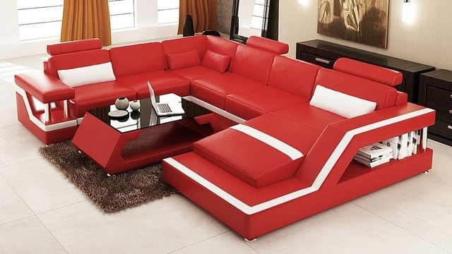 Red And White Bonded Leather Sectional Sofa With Chaise Modern Intended For Red Leather Sectional Couches (Image 5 of 10)