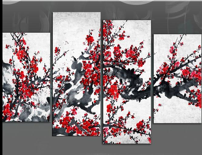 Red Blossom Tree Extra Large Canvas Wall Art On Black Grey White For Large Red Canvas Wall Art (Image 6 of 14)
