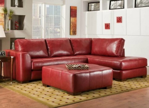 Red Bonded Leather 5Pc Modular Sectional Sofa W Storage Ottoman Inside Small Red Leather Sectional Sofas (Image 7 of 10)