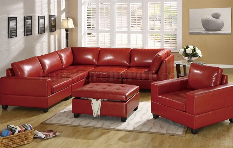 Red Bonded Leather 5Pc Modular Sectional Sofa Wstorage Ottoman With Regard To Red Leather Sectionals With Ottoman (Image 7 of 10)