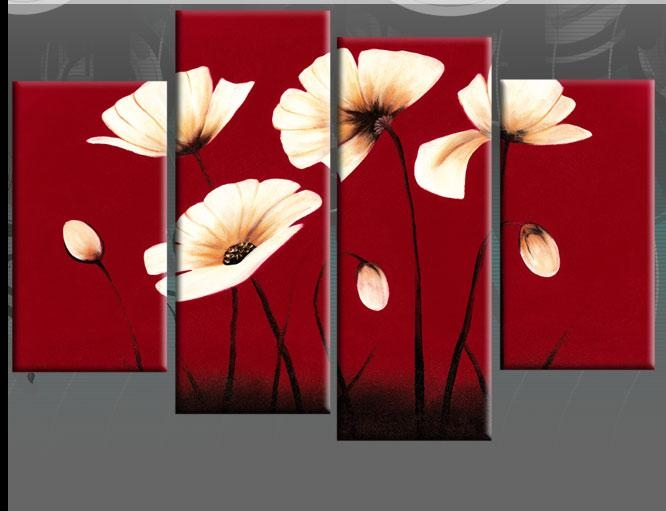 Red Canvas Cream Flowers Floral Wall Art Split Pictures 4 Panel 40 Intended For Canvas Wall Art In Red (Image 13 of 20)