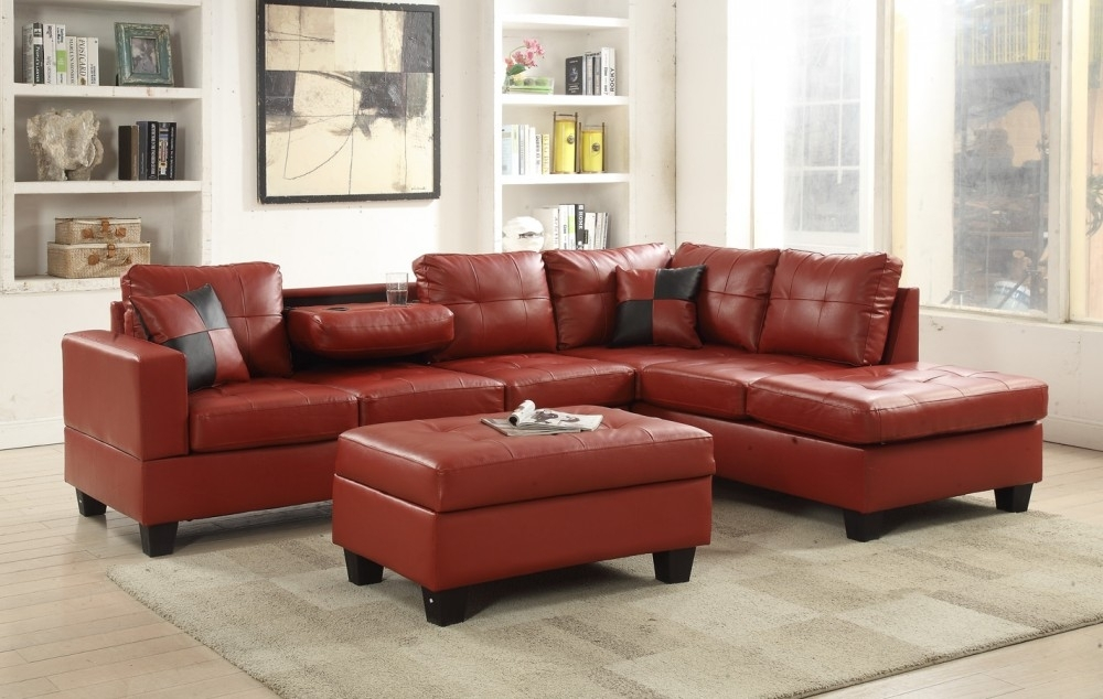 Red Faux Leather Sectional | 8077804 Red | Sectional Sofas | Price Throughout Red Faux Leather Sectionals (Image 8 of 10)