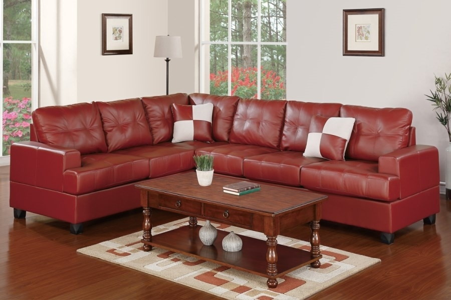 Red Faux Leather Sectional Sofa With Reversible Loveseat/wedge Regarding Red Faux Leather Sectionals (Image 9 of 10)
