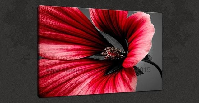 Red Flower Canvas Oil Paintings Art Picture D On Bizhen Flowers In Red Flowers Canvas Wall Art (Image 14 of 20)