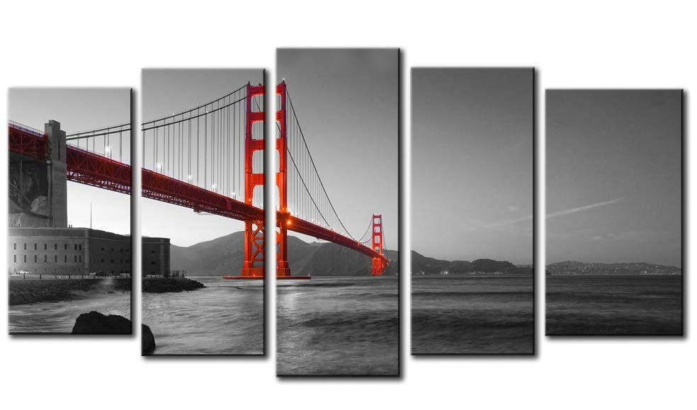Red Golden Gate Bridge On Black And White Background – 5 Panel With Golden Gate Bridge Canvas Wall Art (Image 20 of 20)