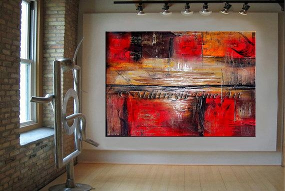 Red Horizon Abstract Painting On Canvas Modern Art Painting Within Abstract Horizon Wall Art (Image 15 of 20)