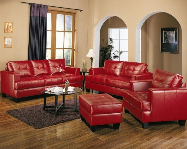 Red Leather Living Room Furniture In Red Leather Couches For Living Room (Image 7 of 10)
