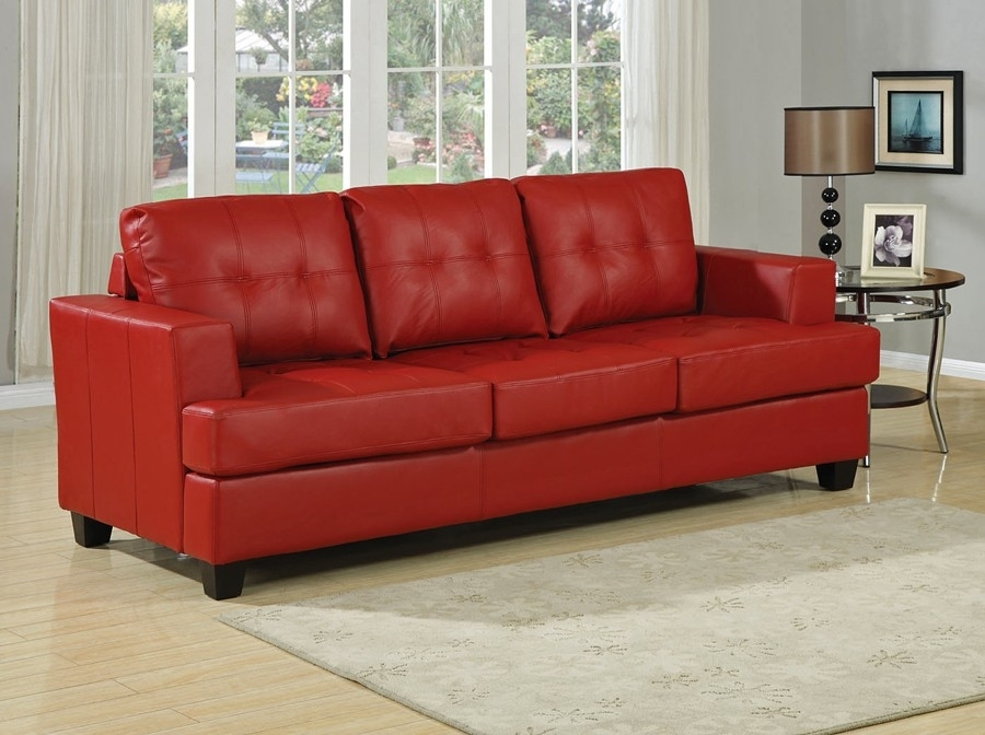Red Leather Sofa Bed Throughout Red Leather Sofas (Image 7 of 10)