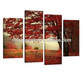 Red Maple Tree Floral Landscape Canvas Wall Art Picture Multi 4 In Canvas Wall Art Of Trees (Image 12 of 20)