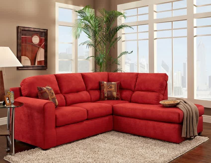 Red Microfiber Sectional Sofa With Chaise – Home Design Ideas And Regarding Red Sectional Sofas With Ottoman (View 3 of 10)