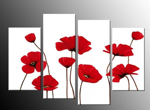 Red Poppies On White 4 Panel Canvas Wall Art Picture 40 Inch 101Cm With Poppies Canvas Wall Art (Image 17 of 20)