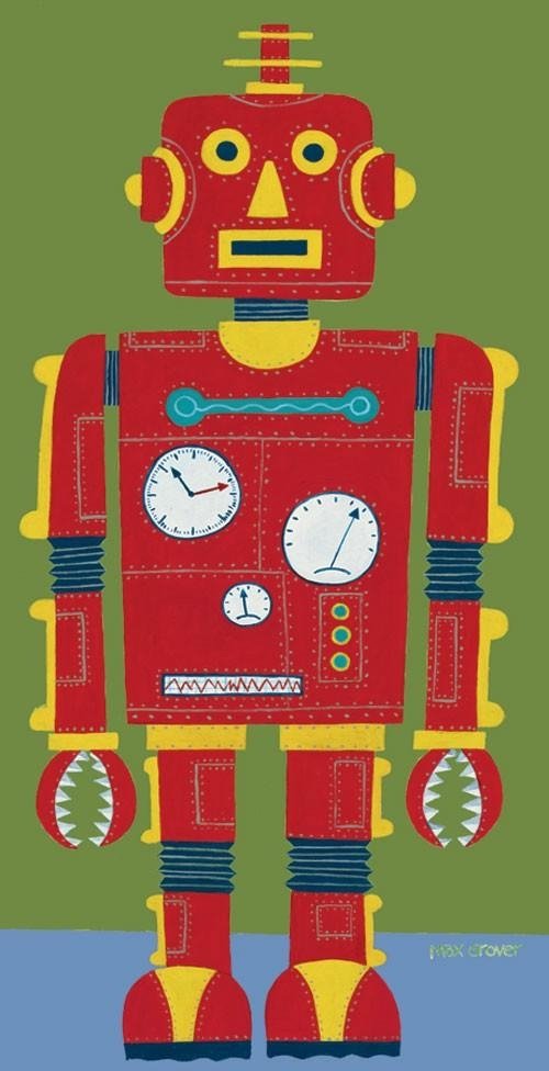 Red Robot Canvas Wall Artoopsy Daisy – Rosenberryrooms Pertaining To Robot Canvas Wall Art (Image 14 of 20)