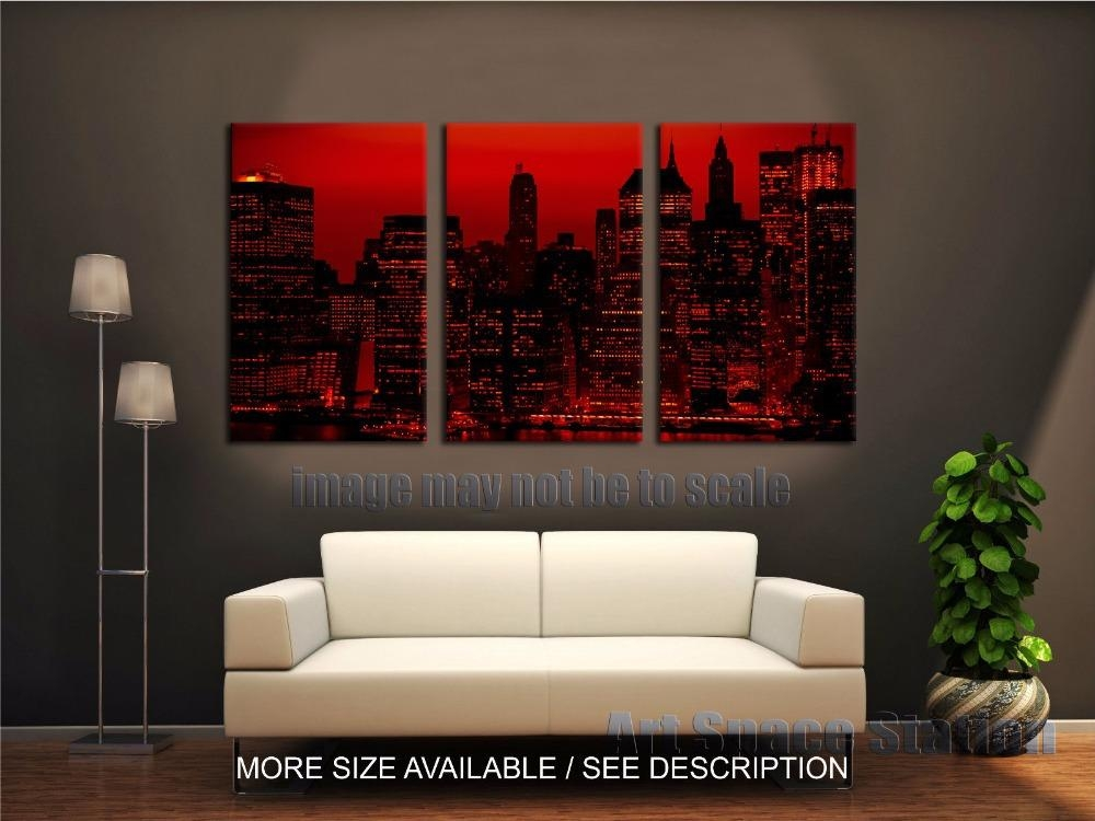 Red Sky At Night New York City Poster Print 3 Piece Large Pertaining To Canvas Wall Art Of New York City (View 15 of 20)