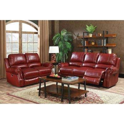 Red – Sofas & Loveseats – Living Room Furniture – The Home Depot For Red Leather Reclining Sofas And Loveseats (Photo 8 of 10)