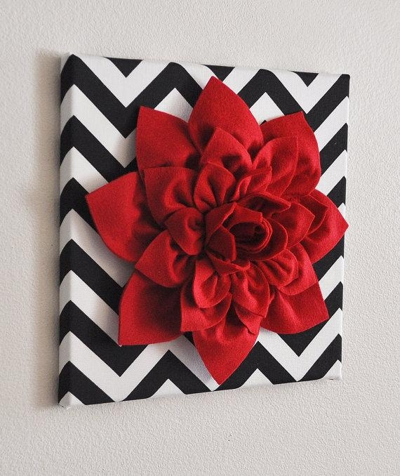Red Wall Flower  Red Dahlia On Black And White Chevron 12 X12 Throughout Red Flowers Canvas Wall Art (Image 16 of 20)