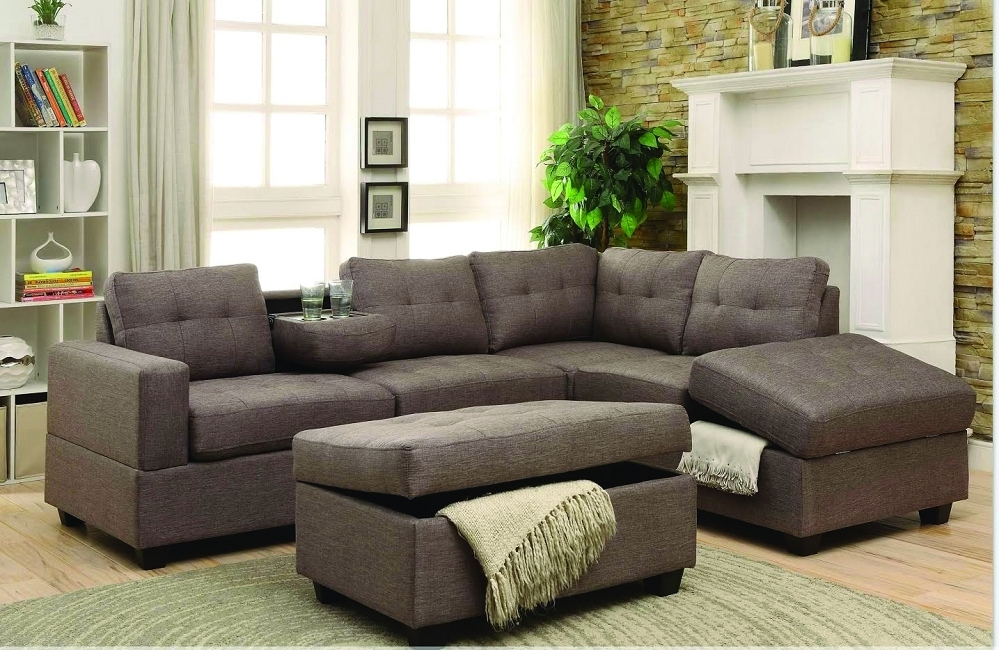 Rena Stone Fabric Reversible Sectional W/ Cupholders, Storage Chaise For Sectionals With Ottoman (Image 6 of 10)