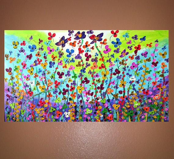 Reserved For Js Beads Garden Flower Field Abstract Painting On Within Abstract Garden Wall Art (Image 15 of 20)