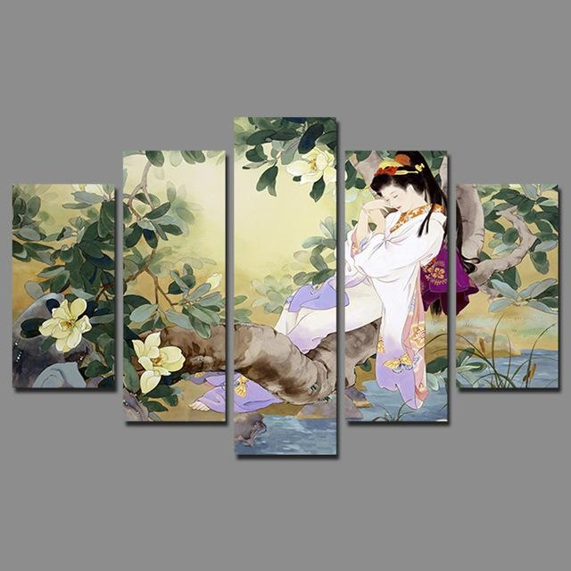 Retro Japan Style Sleeping Beauty Pictures Decoration Flowers Tree Throughout Japanese Canvas Wall Art (Photo 10 of 20)