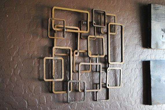 Retro Modern Metal Sculpture Art Abstract Mid Century Contemporary In Geometric Modern Metal Abstract Wall Art (View 17 of 20)