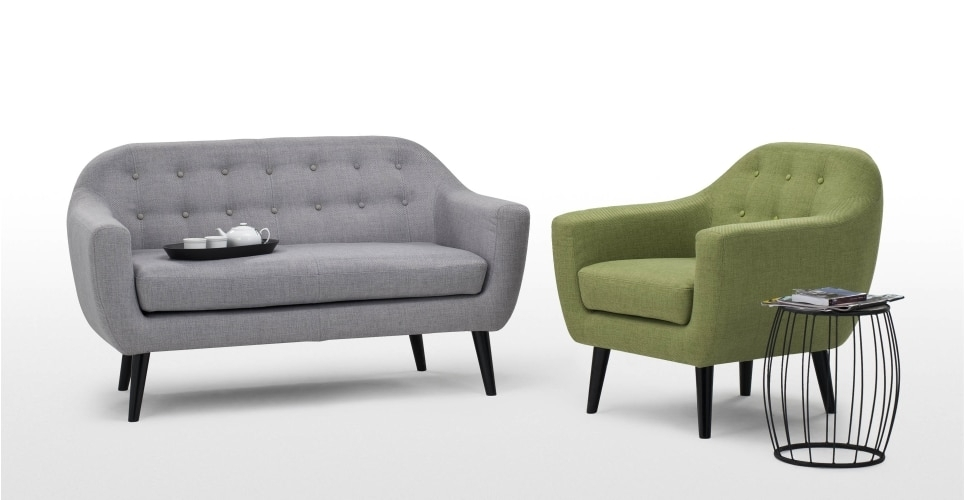 Ritchie 2 Seater Sofa In Pearl Grey | Made For 2 Seater Sofas (Image 9 of 10)
