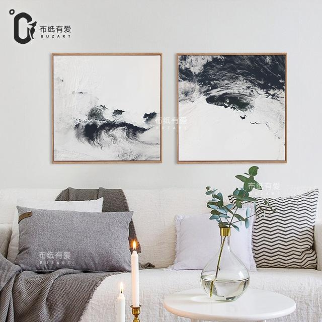 Rivers Black And White Abstract Oil Painting Canvas Wall Art With Regard To Abstract Wall Art Posters (Image 15 of 20)
